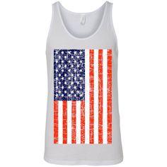 USA Flag Tank Top Shirt Distressed American Pride Men's