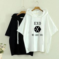 bts exo korean style white t shirt t-shirt tshirt tops summer rock hipster hip hop women Fandom Outfits, Kpop Outfits, Korean Fashion Trends, Kpop Fashion, Fashion 101, Exo Sweater, Exo T Shirt, Kpop Shirts, Hip Hop Women