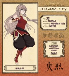 ||Info|| .Name: Usamii Aizawa .Age: 23 .Gender: Female .Nationality: Born in the Fire Nation and raised in Republic city (Mother - Waterbender...Father - Firebender ) .Affinity: Water .Race: Non-Be...