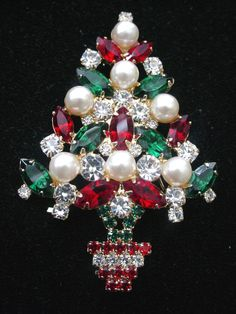 Vintage Eisenberg Ice Christmas Tree Brooch by scarlettstreasures, $159.99