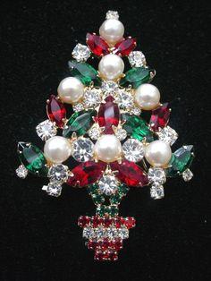 Vintage Eisenberg Ice Christmas Tree Brooch by scarlettstreasures, $159.99