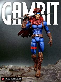 Gambit : Age of Apocalypse (Marvel Legends) Custom Action Figure by loosecollector   Base figure: Bullseye with Aquaman head and Hope's cape