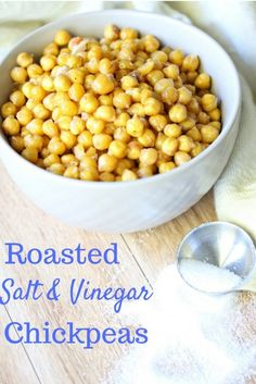 Roasted chickpeas make the perfect snack when camping or hiking. They're filling, portable and this salt and vinegar flavor is tasty and addicting!