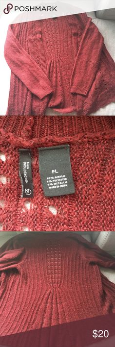 Wine Drapey Cardigan Wine red colored open front drape Cardigan. Originally from Belk. Subtle metallic thread woven throughout. Petite size is shorter in the waist. Back detailing is gorgeous over a contrasting colored tee. Offers welcome, bundles encouraged! new directions Sweaters Cardigans