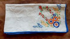 A Lovely Vintage Embroidered tablecloth , Good condition, shabby chic, tableware. by bespokebydionne on Etsy