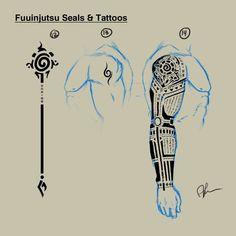 Took me awhile to draw that tattoo sleave. I love how it turned out, though. See more here: [link] (c) Naruto by Masashi Kishimoto Hyuuga, Roku: Fuuinjutsu Seals/Tattoos Naruto Tattoo, Anime Tattoos, Seal Tattoo, Arm Tattoo, Sleeve Tattoos, Tattoo Drawings, Body Art Tattoos, Tribal Tattoos, Tatoos