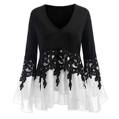 Cheap Blouses & Shirts, Buy Directly from China Suppliers:VESTLINDA Plus Size Applique Layered Flare Sleeve Chiffon Panel Flowy Blouse Women Tops Clothing Blouse Femme 2018 Blouses Plus Size Blouses, Plus Size Tops, Plus Size Kleidung, Chiffon Tops, Lace Chiffon, Chiffon Dress, Chiffon Fabric, Chiffon Blouses, Dresses For Sale