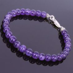DISCOUNT COUPON   6mm Amethyst Beads 925 Sterling Silver Clasp Free silver polishing cloth Measure your wrist size first*We use only top grade gemstones and genuine 925 sterling silver.