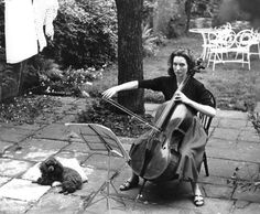 Britain's foremost cellist Amaryllis Fleming and her black toy poodle - by Erich Auerbach (1911 – 1977), Czech/UK