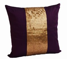 Decorative Throw Pillows -Purple gold color block in silk sequin bead detail cushion -sequin bead pillow - 18X18 Purple pillow - gift pillow by AmoreBeaute on Etsy https://www.etsy.com/listing/158460041/decorative-throw-pillows-purple-gold