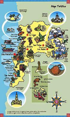 mapa turistico region valparaiso - Buscar con Google San Antonio Chile, Visit Chile, Dream Vacations, South America, Places To Visit, Activities, Education, Comics, Illustration
