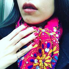 浮かれすぎかしら。 #instafashion #fashionstagram #fashion #vintagestyle #vintage #handmade #embroidery #shawl  #fuchsia #pink #nail #ring #blackhair #lips #selfie #lovefashion  #ファッション #ヴィンテージ #ビンテージ #古着 #ハンドメイド #刺繍 #ショール #ネイル #セルフネイル #リング #黒髪 #唇 #自撮り #セルフィー