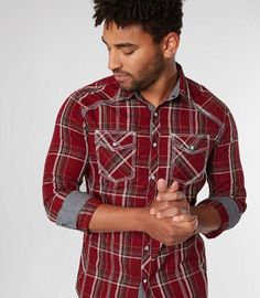 BKE Plaid Tailored Shirt - Red Small, Men's Burgundywhite Pearl snap front shirt Tailored fit narrows at the waist and chest for a sharp looking fit Contrast trim Easy Care fabric is a poly/cotton blend that helps prevent wrinkles Model Info: Height: Plaid Suit, Plaid Jacket, Flannel Shirt, Denim Shirt, Plain Shirts, Tailored Shirts, Traditional Looks, Basic Outfits, Polished Look