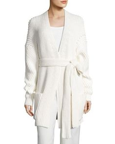 ACNE STUDIOS Popcorn-Stitch Wrap Cardigan, Cream. #acnestudios #cloth #
