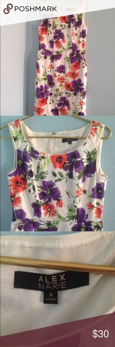 "🌺Alex Marie Knee Length Floral Dress Beautiful Alex Marie sleeveless knee length floral dress size 6. Zipper on the back center. Has 2 pockets. Measurements: chest 40""/waist 30""/length 39"". Excellent condition no rips or stains. Alex Marie Dresses Midi"
