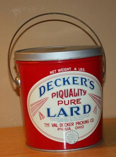 NICE VINTAGE DECKERS PIQUALITY PURE LARD TIN CAN 4 LBS Piqua Ohio