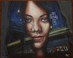 Acrylic Painting Realistic Girl Portrait on 16x20 Canvas, Original Cool Blue EastVan Sign Vancouver City Night Lights Graffiti Hipster Art