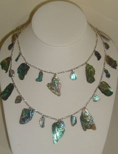 Double layer paua piece necklace