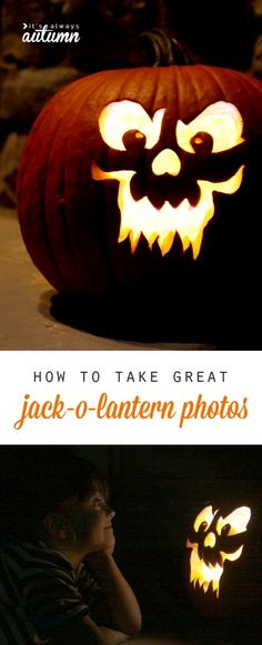 3 easy tips to help you get great photos of your carved pumpkins this Halloween. How to take amazing jack-o-lantern photographs. Halloween Birthday, Halloween Projects, Disney Halloween, Spooky Halloween, Holidays Halloween, Birthday Fun, Halloween Pumpkins, Happy Halloween, Halloween Ideas