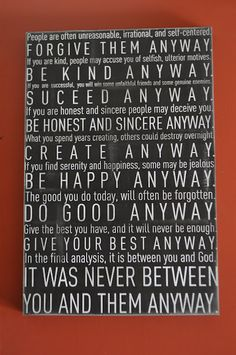 DIY Subway Art of quote from Mother Teresa - I want to surround my kids with messages like this, imprint them into their brains.