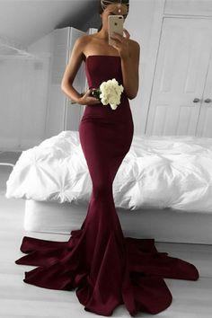 simple wine mermaid bridesmaid dresses, modest strapless sweep train wedding party dresses, cheap burgundy trumpet long bridesmaid dresses #bridesmaiddress