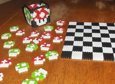 Super Mario Perler Beads Checkers Set (easily reproduced & possible item to sell or use in store?  )