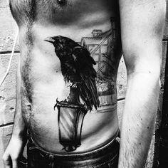 3D Black Raven On Lampost Tattoo Mens Torso