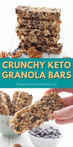 Keto Desserts, Keto Snacks, Healthy Snacks, Keto Granola, Granola Bars, Low Carb Keto, Low Carb Recipes, Keto Bars, Low Carb Sweets