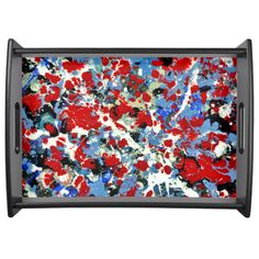 RED, WHITE AND BLUES ~ (abstract art design) ~ Service Tray  Original paintings can be found for sale through my Amazon store at: http://www.amazon.com/shops/artmatrix or you can make direct arrangements for them through me. JMO Zazzle designs: http://www.zazzle.com/thewhippingpost?rf=238063263784323237 To help an artist, you can donate here: http://www.gofundme.com/6am6lg