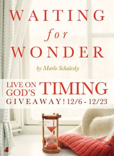 Because God's timing is so rarely our own and we lose the wonder in the waiting of life, desperation strikes, plans backfire, and we begin to wonder why God does not fill the emptiness. Be encouraged to find strength and hope in Marlo Schalesky's new book, Waiting for Wonder. Learn the true purpose of waiting on God and living on His timeline and enter to win Marlo's giveaway. Click for details!