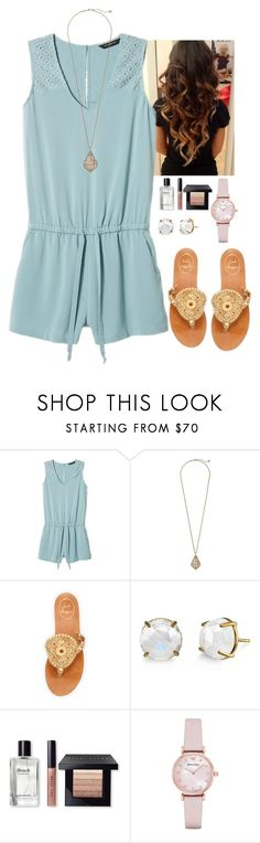 """""""Gold and pastel blue:)"""" by victoriaann34 on Polyvore featuring Banana Republic, Kendra Scott, Jack Rogers, Irene Neuwirth, Bobbi Brown Cosmetics and Emporio Armani"""