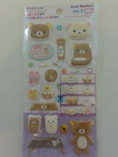 Cute Kawaii San-X Rilakkuma Home Sweet Home Puffy Sticker Sheet