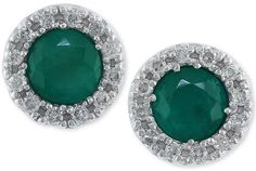 Brasilica by EFFY Emerald (3/4 ct. t.w.) and Diamond (1/8 ct. t.w.) Stud Earrings in 14k White Gold #jewelry #earrings #emerald #diamond #green