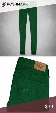 New! Abercrombie & fitch Green Jeggings Brand New - Never worn  These jeggings are super comfortable and have a jean texture with a jegging feel. They're stretchy and are a beautiful rich green.  Size 4/27 Regular Length -29  Materials - 98% Cotton 2% elastane Abercrombie & Fitch Jeans Skinny