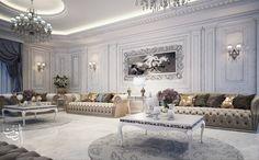 white classic majles on Behance Luxury Interior Design, Interior Design Living Room, Living Room Designs, Classic Living Room, Classic House, Belle Villa, Sofa Design, Luxury Furniture, Architecture