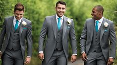 Grey slim fit suits with matching waistcoat and turquoise tie and hanky suits men turquoise Grey Tux Wedding, Wedding Suits, Wedding Attire, Wedding Dresses, Grey Slim Fit Suit, Grey Suit Men, Turquoise Suit, Teal Tie, Groom Ties