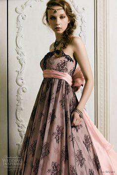 Bridesmaids in Pink - pink bridesmaid dress; pink dress with black lace overlay
