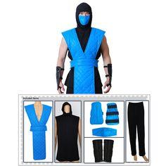 Sub Zero Costume Shotokan Ninja Blue Fighter Halloween Cosplay Costume Outfit Mortal Kombat Halloween Costume, Mortal Kombat Costumes, Blue Costumes, Diy Costumes, Cosplay Costumes, Family Halloween Costumes, Halloween Cosplay, Trajes Mortal Kombat, Sub Zero Costume