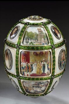 'Imperial' Faberge egg. Miniatures - 7 portraits of family members and 9 scenes of the reign, including the coronation of the opening of museums and monuments, the relics of Seraphim of Sarov. Jeweller - Henry Vingstrem.