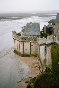Mont-Saint-Michel, France - the fortified walls protected the residents during medieval times.