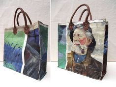 Wow...bag made from a recycled canvas painting.  I love this idea, and great use of recycled paintings!  No instructions, picture only.