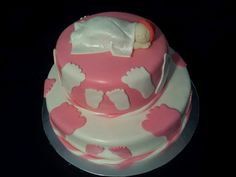 Footprint baby shower cake