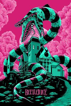 'Beetlejuice' 1988 The first Tim Burton movie I saw and fell in love with. More of a Comedy horror, but it did creep me out when I was younger. (Movie Poster by Ken Taylor) Art Tim Burton, Tim Burton Kunst, Film Tim Burton, Burton Burton, A4 Poster, Kunst Poster, Movie Poster Art, Horror Movie Posters, Horror Movies