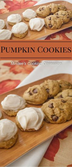 Pumpkin cookies are moist with all the flavors of fall. You can either frost them with cream cheese frosting or just stir in some chocolate chips! via /https/://www.pinterest.com/mindeescooking/