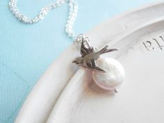 Pearl Necklace  June Birthstone Freshwater Coin by linkeldesigns