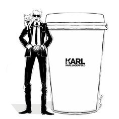 """Megan Hess Illustration: """"I can't believe I haven't drawn a KARL CAPPUCCINO until now - What have I been doing with my life!? Enjoy your Monday Everyone."""""""