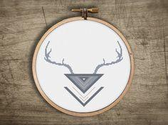 geometric deer antler triangle cross stitch  retro by futska