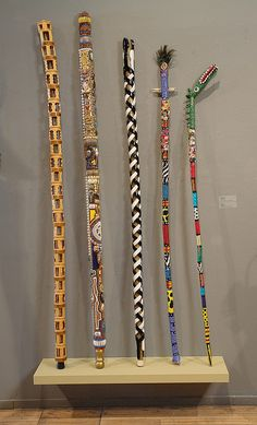 sticks by Intuit: The Center for Intuitive and Outsider Art Hand Carved Walking Sticks, Wooden Walking Sticks, Walking Sticks And Canes, Wood Sticks, Painted Sticks, Walking Canes, Sticks And Stones, Cane Stick, Stick Art