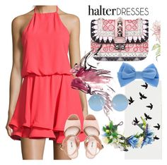 """""""Dress to impress"""" by sanidaskrebo ❤ liked on Polyvore featuring Wyatt, claire's, Sunday Somewhere, Miu Miu, Valentino and halterdresses"""