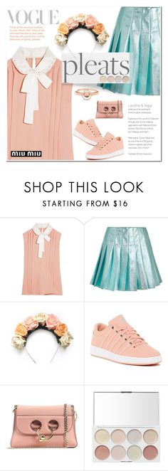 """Pleats please"" by katymill ❤ liked on Polyvore featuring Miu Miu, Crown and Glory, K-Swiss, J.W. Anderson, Marie Mas and pleats"